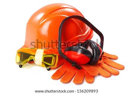 Industrial protective wear on white background - stock photo