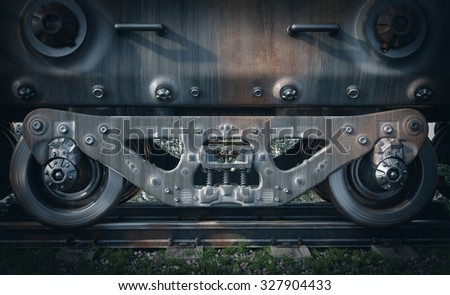 Industrial rail train wheels closeup technology conceptual background - stock photo