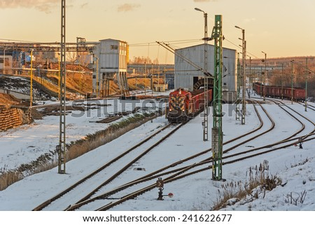 Industrial railway station winter season. - stock photo