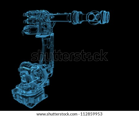 Industrial robot (3D xray blue transparent) - stock photo