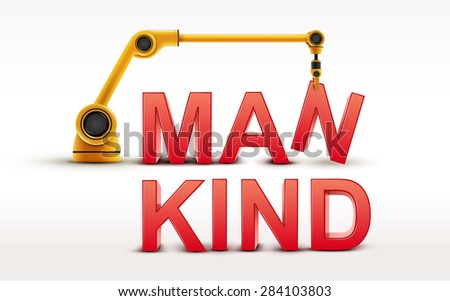 industrial robotic arm building MANKIND word on white background - stock photo
