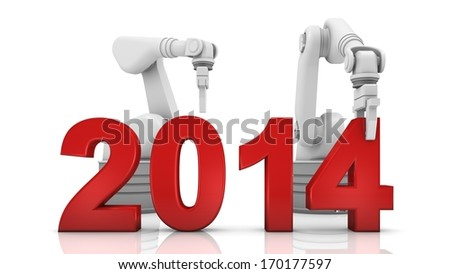 Industrial robotic arm building 2014 year on white background - stock photo