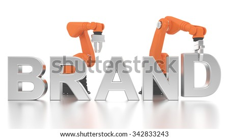 Industrial robotic arms building brand word on white background - stock photo