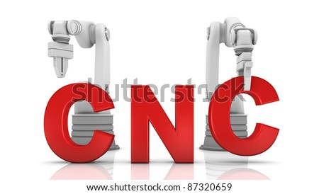 Industrial robotic arms building CNC word on white background - stock photo