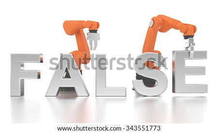 Industrial robotic arms building FALSE word on white background - stock photo