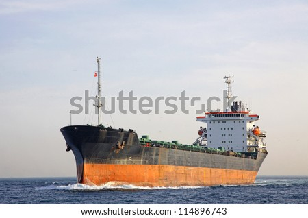 Industrial ship at Bosphorus strait in Istanbul, Turkey - stock photo