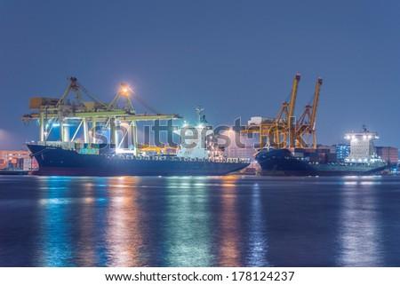 Industrial shipping port in Bangkok, Thailand - stock photo