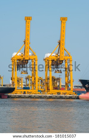 Industrial shipping port in Bangkok with blue sky - stock photo