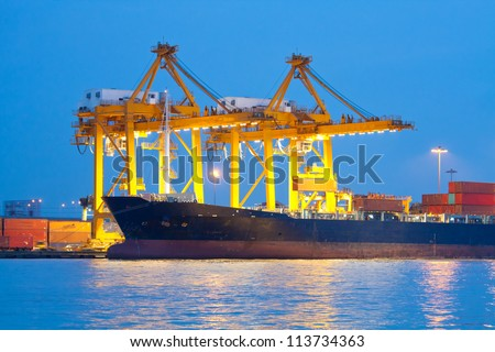Industrial shipping port on sunset in Bangkok, Thailand - stock photo