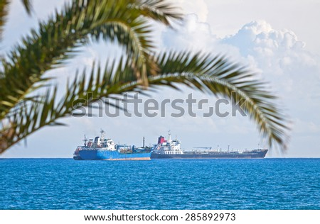 Industrial ships in Mediterranean sea near Cyprus coast - stock photo