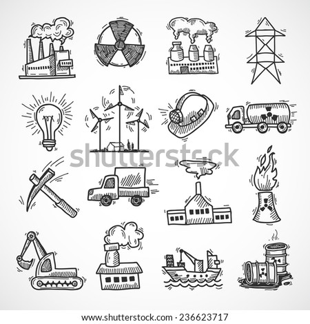 Industrial sketch icon set with oil fuel electricity and energy industry symbols isolated  illustration - stock photo