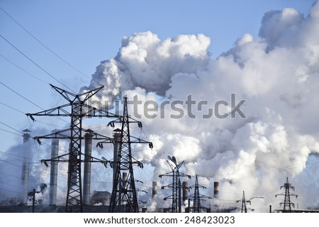 Industrial smog - stock photo