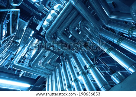 Industrial Steel pipelines and valves - stock photo