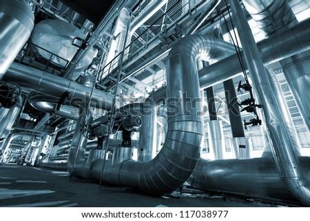 industrial steel pipelines in blue tone - stock photo