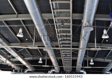 Industrial steel tubes,ventilation pipe - stock photo