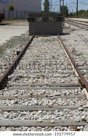 industrial train rails, detail of railways in Spain - stock photo