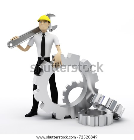 Industrial worker with wrench and gears. Conceptual illustration. Isolated on white - stock photo