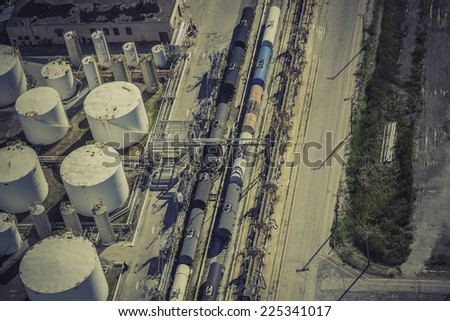Industrial zone aerial view - stock photo