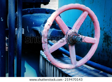 Industrial zone valves, factory equipment. - stock photo