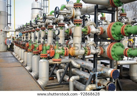 Industries of oil refining and gas - stock photo