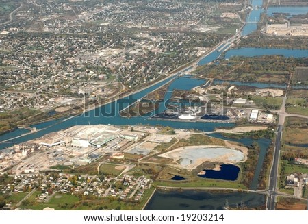 Industry along the Welland Canal, ON Canada aerial - stock photo