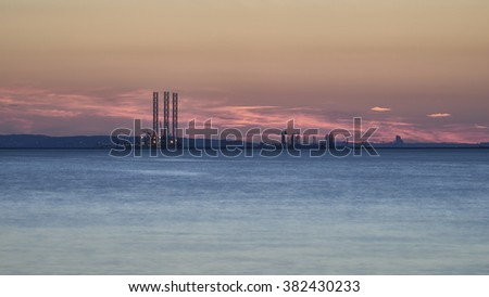 Industry area - Port of Gdansk at sunset, Poland. - stock photo