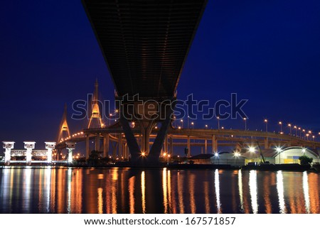 Industry Circle Bridge at dusk in Bangkok, Thailand - stock photo