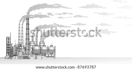 Industry concept: abstract plant with smokey sky. Bitmap copy my vector - stock photo