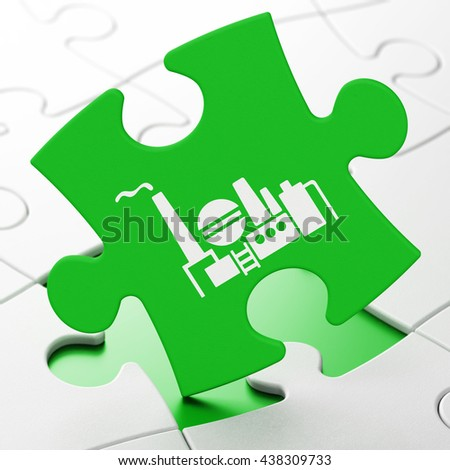 Industry concept: Oil And Gas Indusry on Green puzzle pieces background, 3D rendering - stock photo
