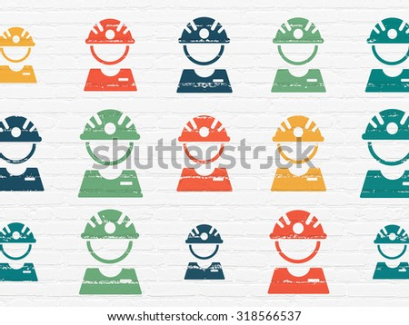 Industry concept: Painted multicolor Factory Worker icons on White Brick wall background - stock photo