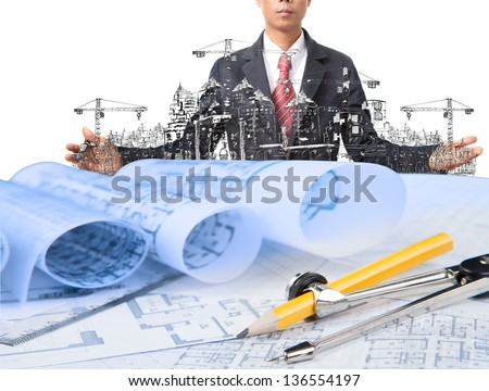 industry construction and business man use for construction theme - stock photo