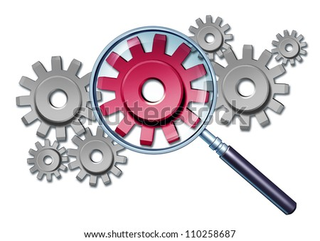 Industry focus business concept with gears and cogs connected together as a financial partnership with a red cog in a magnifying glass as an icon with a closer look at the workings of a company. - stock photo