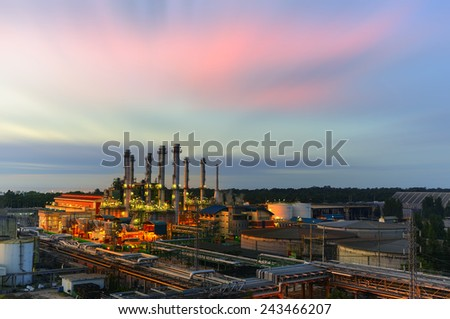 Industry Power plants with light Twilight.  - stock photo