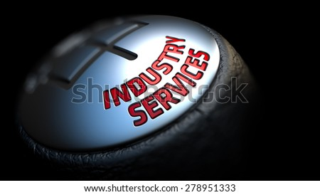 Industry Services. Gear Shift with Red Text on Black Background. Selective Focus. 3D Render. - stock photo