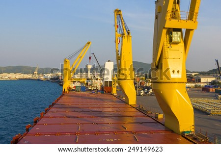 Industry ship with in loading port - stock photo