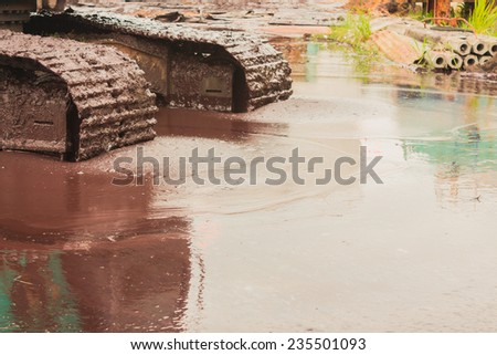 Industry steel, Industry, Waste water pond. - stock photo