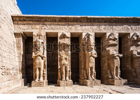 Inetrior of the  Medinet Habu (Mortuary Temple of Ramesses III), West Bank of Luxor in Egypt. - stock photo