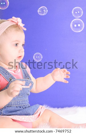 infant baby bubbles - stock photo