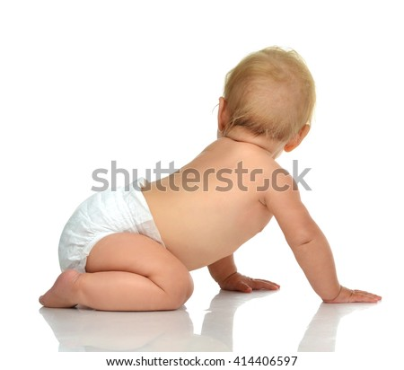 Infant child baby toddler sitting and looking from the back backwards on white background - stock photo