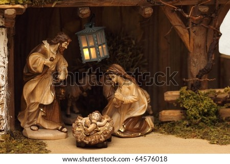 Infant Jesus, Mother Mary and her husband Joseph - stock photo