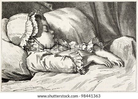 Infant sleeping old engraved portrait. Created by Garnier after Moreau the Young, published on Magasin Pittoresque, Paris, 1882 - stock photo