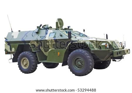 Infantry fighting vehicle on white - stock photo