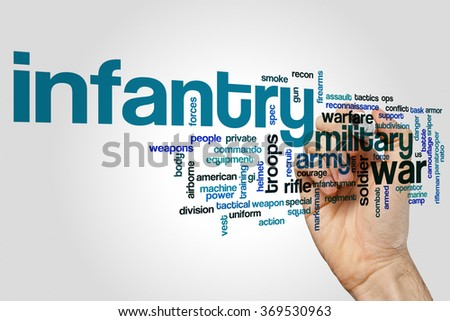 Infantry word cloud - stock photo