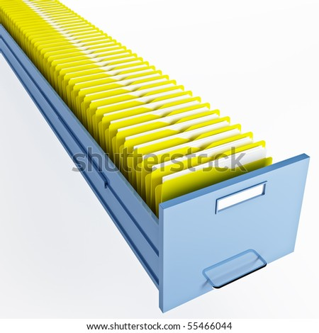 infinite file cabinet with yellow file folder - stock photo
