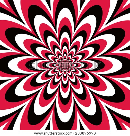 Infinite Flower op art design in red, black and white. - stock photo