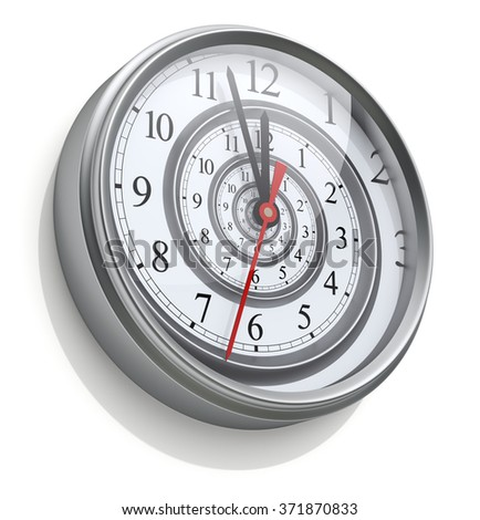 Infinite time spiral in the wall clock - stock photo