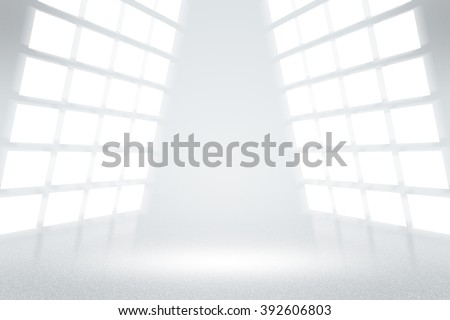 Infinite White TV Studio Background - stock photo
