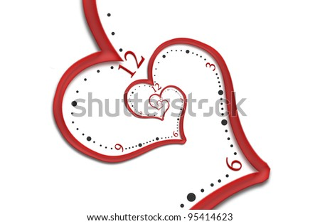 Infinity clock with a heart shape, - stock photo