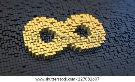 Infinity symbol of the yellow square pixels on a black matrix background - stock photo