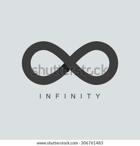 infinity symbol or sign logo template. isolated on grey background. overlapping technique - stock photo